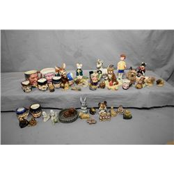 Two trays of porcelain animals and figures including Beswick Christopher Robin, Royal Doulton cat, G