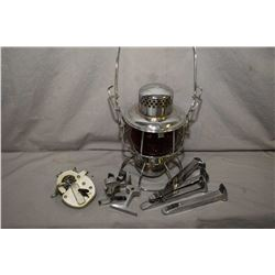 Tray lot of collectibles including CNR lantern, CNR lock, four chrome plated rail spike cut to use a