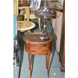 Antique two drawer French style side table with brass galley and brass capped feet and a small cast