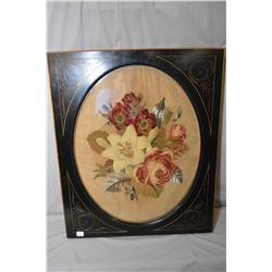 Antique Victorian framed needlework with wool felted flowers, Berlin beaded and embroidered leaf wor