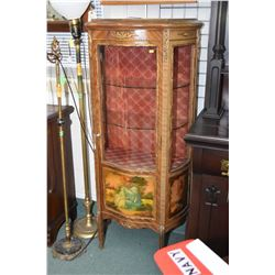 Antique display cabinet with curved glass door with hand painted love story panel, three glazed side
