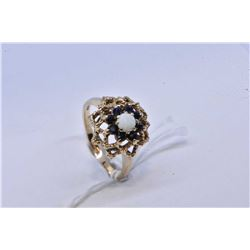 9kt yellow gold sapphire and opal gemstone ring