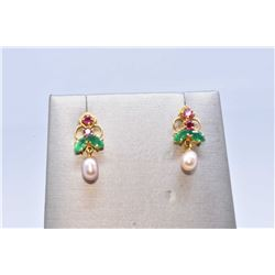 Pair of vintage 14kt yellow gold earrings set with genuine ruby and emerald like gemstones and small