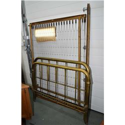 """Antique tubular 52"""" brass bed with headboard, footboard and spring rails"""