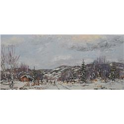 """Framed acrylic on board painting titled on verso """"Caribou Country No 7835"""" and signed by artist Otto"""