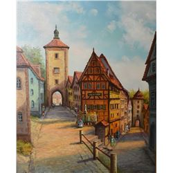 """Gilt framed acrylic on canvas painting of a European village scene signed by artist, 24"""" X 20"""""""