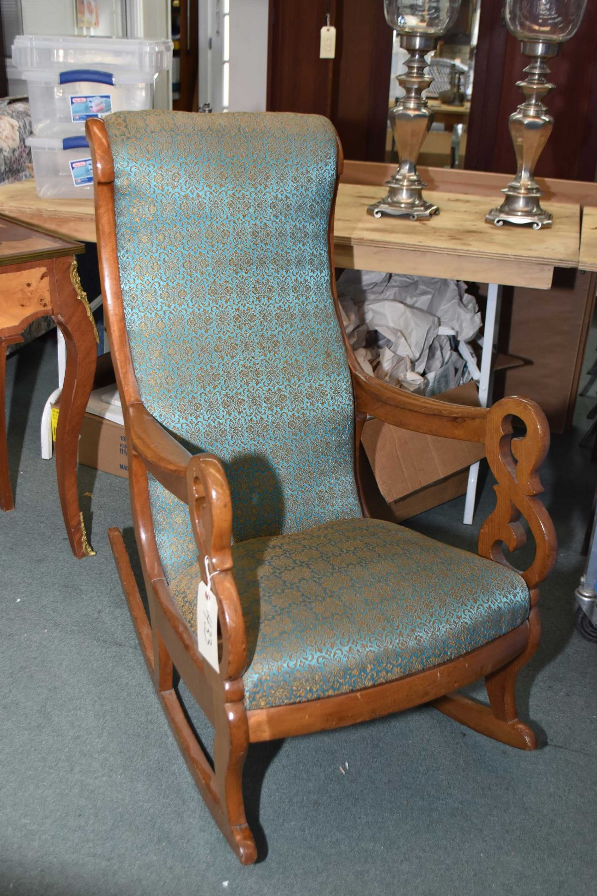 Swell Antique Open Arm Rocking Chair With Upholstered Seat And Pdpeps Interior Chair Design Pdpepsorg