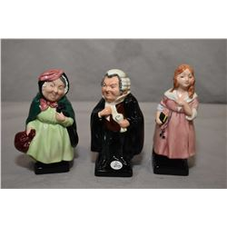 """Three small Royal Doulton figurines including """"Little Nell"""", """"Buzfuz"""" and """"Sairey Gamp"""""""