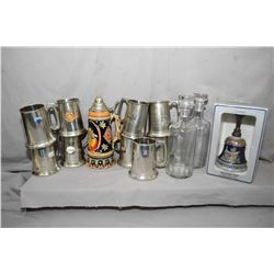 Selection of vintage drinks collectibles including eight Birks pewter tankards, German musical stein