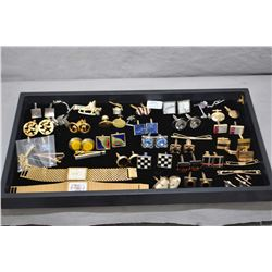 Selection of vintage gent's cufflinks and two gold plated watches including Longines HT 1965 Swiss 1