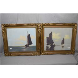 Two vintage framed pastel paintings of fishing boats both described on verso, see pictures for detai