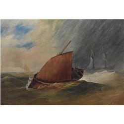 Antique gilt framed oil on board painting of a sailing ship on stormy seas, initialled by artist J.F