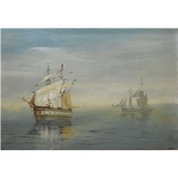 """Antique gilt framed oil on board painting of sailing ships, initialled by artist J.F.A, 9"""" X 12"""""""