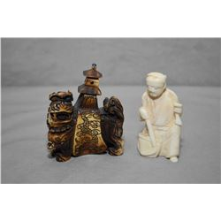 """Small vintage carved Oriental Foo dog and pagoda snuff bottle and a carved bone figure 2 1/2"""" in hei"""