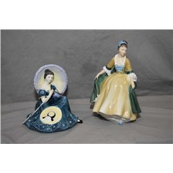 Two Royal Doulton figurines including Pensive Moments HN2704 and Elegance HN2264