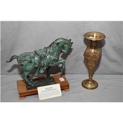 """Oriental bronze Tang horse on a wooden plinth, and a enamelled brass vase 10"""" tall"""