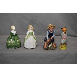 "Four china figurines including Royal Doulton ""Tom Sawyer"" HN2926, ""Penny"" HN2338, ""Belle"" HN2340 plu"