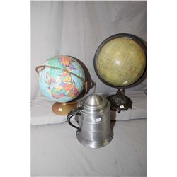 Two vintage desk globes and a large pewter style stein ice bucket
