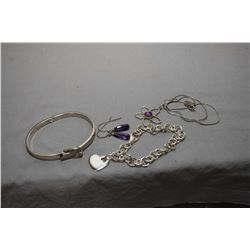 Selection of lady's silver jewellery including a sterling chain with daisy pendant set with purple c
