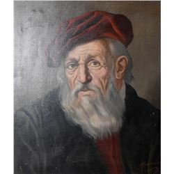 """Framed oil on canvas portrait of a Davinci contemporary signed by artist, 24"""" X 20"""""""