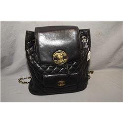 Vintage black calf leather Chanel backpack, note missing pocket latch
