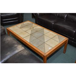 Mid century Danish teak framed coffee and end table with tile inset tops and made in Denmark Gangso