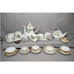 """Selection of china collectibles including Royal Albert """"Trillium"""" including teapot, coffee pot, open"""