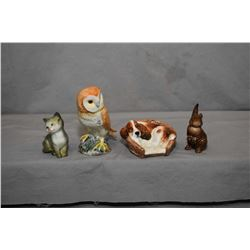 Four porcelain animal collectibles including Royal Doulton spaniel in a basket HN2585, Beswick Owl 4
