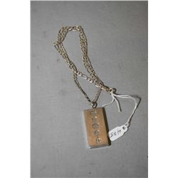 """18"""" sterling silver curb neck chain and a sterling silver ingot marked with British sterling hallmar"""