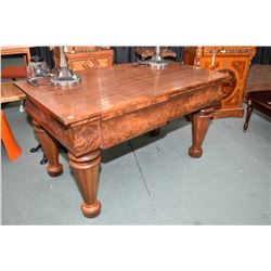 Antique flame mahogany desk with bulbous tapered supports and two drawers