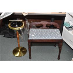 Vintage floor standing ash stand and a vanity bench