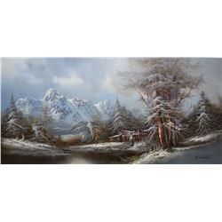 """Framed oil on canvas painting of a mountainous mill scene signed by artist R. Scott, 24"""" X 48"""""""