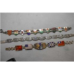 Three vintage sterling silver and enamel WWII Victory bracelets