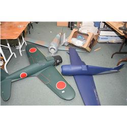 Three large scale WWII fighter plane kits, view in person to verify all needed parts inventory