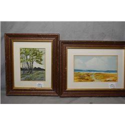 Four framed original artworks including oil on board autumn landscape, signed by artist Robert Green