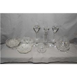 """Selection of quality crystal and glassware including a pair of 10"""" Czech Republic crystal matched ca"""