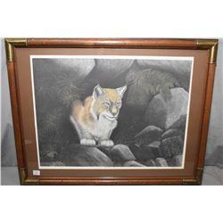 "Framed artist proof ""Woodland Watch"" print, pencil signed by artist A. Halliburten, 21/50"
