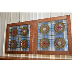 """Two matching vintage stained glass windows, attached together to make one, overall dimensions 22"""" X"""