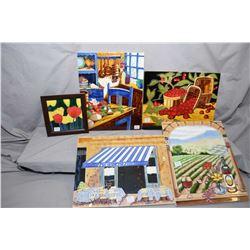 Seven enamelled wall tiles, various content including fruit, vineyard scene, restaurant scene etc.