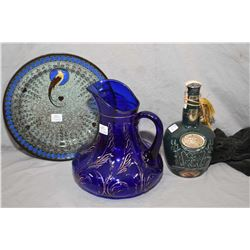 """Selection of collectibles including a cobalt glass pitcher with gold decoration, a Royal Doulton """"Ti"""