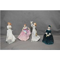 Four Royal Doulton figurines including Invitation HN2170, Cherie HN2341, Thinking of You HN3124 and
