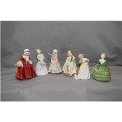 Six Royal Doulton figurines including Lavinia HN1955, Sit HN3123, Babie HN1679, Tootles HN1680, My F
