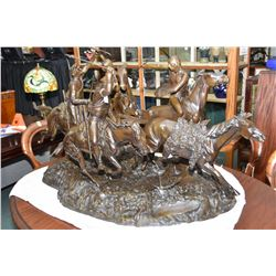 """Large Fredric Remington bronze """" The Old Dragoons of 1850"""" featuring five horses and four riders inc"""