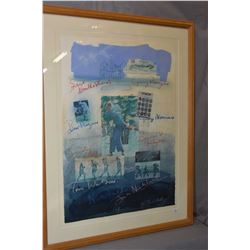 """Framed golf motif collage titled """"Golf"""" signed by creator J. Houdley (?), 30"""" X 21"""""""
