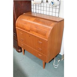 Mid century modern teak cylinder desk with pull out writing surface, fitted interior and three drawe