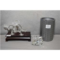 Two Swarovski crystal figures including Chinese Zodiac dragon with topaz eyes on wooden stand and a
