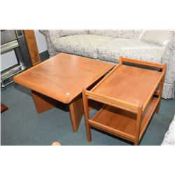 """Danish made two tier drinks stand maked """"BRDR Furbo"""" and a Canadian made teak end table"""