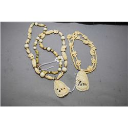 Two beaded necklaces including signed Miriam Haskell and unsigned by elephant motif pendant