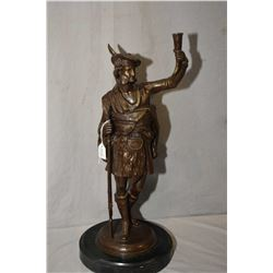 """Vintage bronze figure of a highland gentleman on a slate base marked Montgumeric, 19"""" in height"""