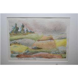 Three small framed paintings including two in one Marilyn Malo Saskatchewan farm scene, Henri Bartel
